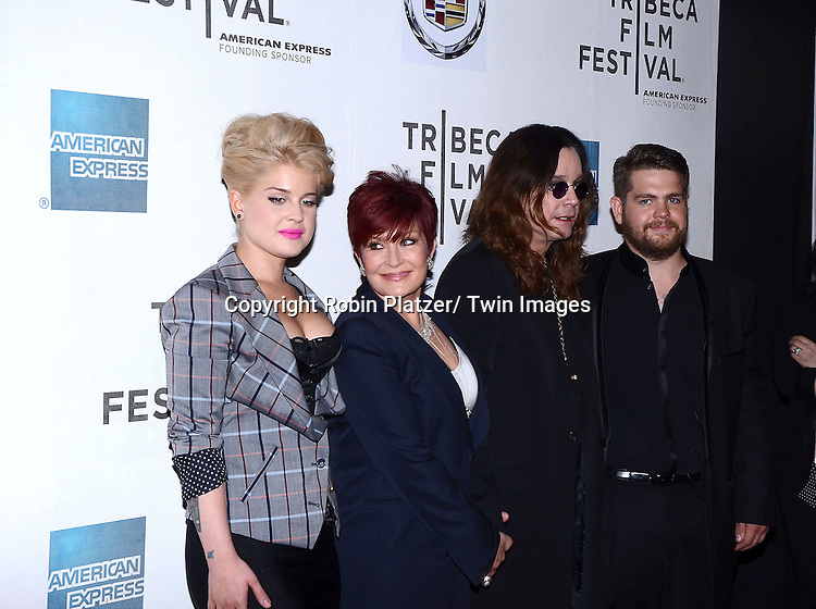 """Kelly, Sharon, Ozzy and Jack Osbourne attending the Tribeca Film Festival screening of.""""God Bless Ozzy Osbourne"""" on april 24, 2011 at The BMCC/TPAC in New York City."""