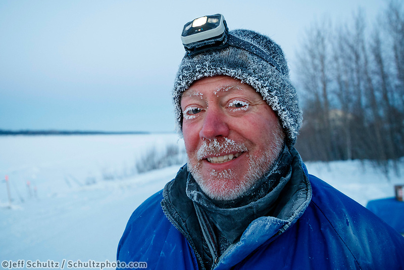 Brad VanMeter volunteer checker at Tanana during the 2017 Iditarod on Wednesday morning March 8, 2017.<br /> <br /> Photo by Jeff Schultz/SchultzPhoto.com  (C) 2017  ALL RIGHTS RESERVED
