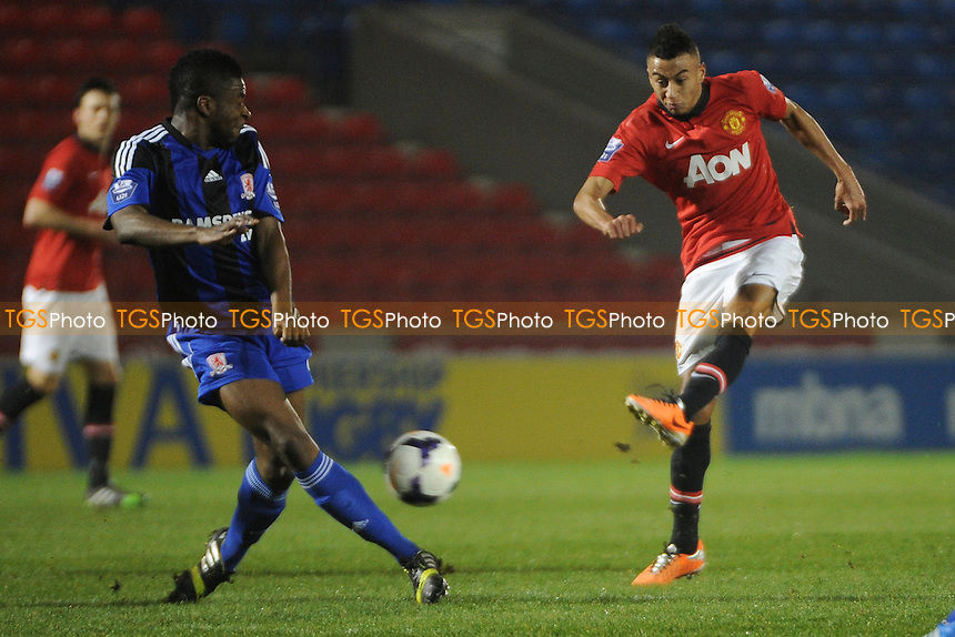 Jesse Lingard of Manchester United has a shot at goal - Manchester United Under-21 vs Middlesbrough Under-21 - Barclays Under-21 Premier League Football at Salford City Stadium, Manchester - 20/01/14 - MANDATORY CREDIT: Greig Bertram/TGSPHOTO - Self billing applies where appropriate - 0845 094 6026 - contact@tgsphoto.co.uk - NO UNPAID USE