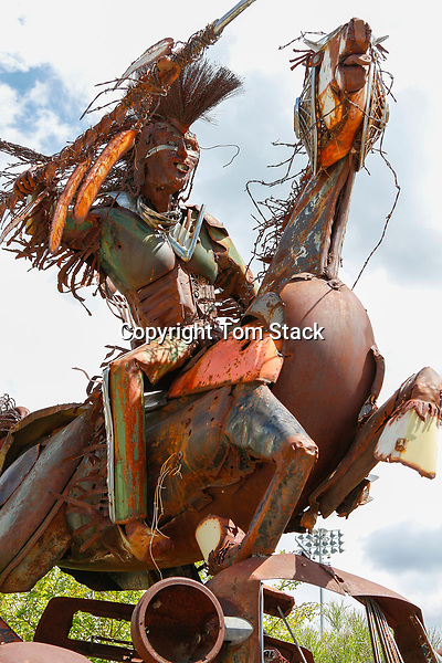 """Sculpture """"Charging Forward"""" by Jay Laber, 2001 on the University of Montana, Missoula campus."""