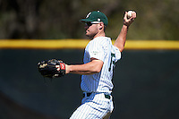 Eastern Michigan Eagles right fielder Mike Mioduszewski (15) throws the ball in during a game against the Dartmouth Big Green on February 25, 2017 at North Charlotte Regional Park in Port Charlotte, Florida.  Dartmouth defeated Eastern Michigan 8-4.  (Mike Janes/Four Seam Images)