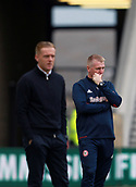 30th September 2017, Riverside Stadium, Middlesbrough, England; EFL Championship football, Middlesbrough versus Brentford; Dean Smith Manager of Brentford considers his tactics with Garry Monk the Middlesbrough Manager in the fore ground in the 2-2 draw