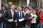 "Lt. Gov. Brian Krolicki, left,  leads the singing on the Capitol steps Thursday, Oct. 30, 2014 during #NevadaSings!, a statewide sing-a-long of ""Home Means Nevada."" Approximately 370 people took part  in the Carson City portion of the event, which seeks to establish a new record for the most people in an American state to sing their state song at the same time."