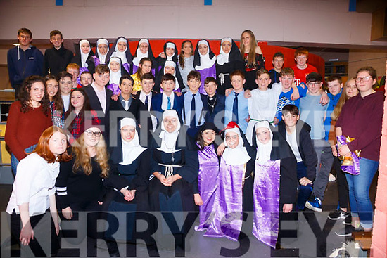 Colaiste na Sceilge TY Students brought the hose down for a third night running with their show 'Sisters in the Habit' pictured here Cast & Crew of the show on closing night.