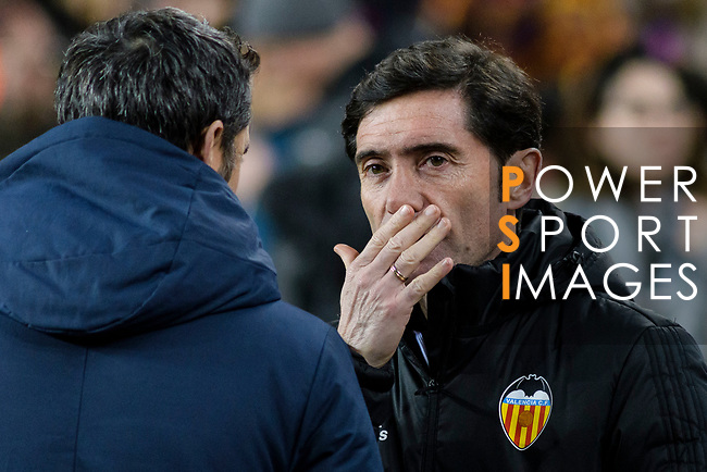 Head Coach Marcelino Garcia Toral of Valencia CF (R) talks to Head Coach Luis Ernesto Valverde of FC Barcelona (L) during the Copa Del Rey 2017-18 match between FC Barcelona and Valencia CF at Camp Nou Stadium on 01 February 2018 in Barcelona, Spain. Photo by Vicens Gimenez / Power Sport Images