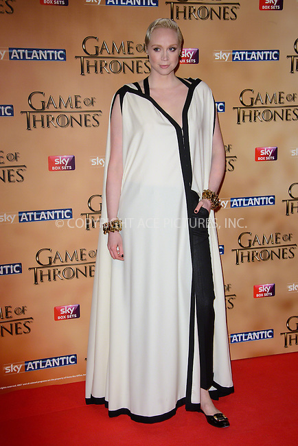 WWW.ACEPIXS.COM<br /> <br /> March 18 2015, London<br /> <br /> Gwendoline Christie arriving at the world premiere of Game of Thrones Season 5 at the Tower of London on March 18 2015 in London.<br /> <br /> By Line: Famous/ACE Pictures<br /> <br /> <br /> ACE Pictures, Inc.<br /> tel: 646 769 0430<br /> Email: info@acepixs.com<br /> www.acepixs.com