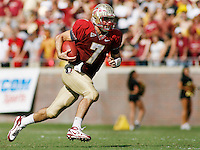 TALLAHASSEE, FL 10/31/09-FSU-NCST FB09 CH37-Florida State's Christian Ponder runs against N.C. State during second half action Saturday at Doak Campbell Stadium in Tallahassee. The Seminoles beat the Wolf Pack 45-42..COLIN HACKLEY PHOTO