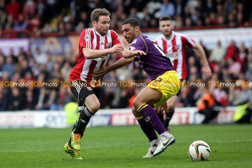 Alan Judge of Brentford tries to get past Notts County's Hayden Mullins - Brentford vs Notts County - Sky Bet League One Football at Griffin Park, London - 05/04/14 - MANDATORY CREDIT: Paul Dennis/TGSPHOTO - Self billing applies where appropriate - 0845 094 6026 - contact@tgsphoto.co.uk - NO UNPAID USE