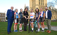 Picture by SWpix.com - 07/03/2018 - Cycling - 2018 OVO Energy Women's Tour Launch - Westminster, London, England - Mick Bennett (SweetSpot), Hayley Simmonds (WNT Rotor), Elinor Barker (Wiggle High5), Claire Pulford (Breast Cancer Care), Lizzie Deignan (Boels Dolmans), Hannah Payton (Trek Drops), Joscelin Lowden (Storey Racing) and Chris Houghton (OVO Energy) pictured at College Green outside the Houses of Parliament to launch the 2018 OVO Energy Women's Tour.