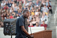 Jacques Lesure '19, President, Associated Students of Occidental College <br /> The O-Team cheers for parents and students at the Welcome to Oxy event at the Remsen Bird Hillside Theater (Greek Bowl) as part of the official Orientation welcome. Incoming first-years and their families are welcomed by enthusiastic O-Team members and other members of the community during Occidental College's Fall move-in and orientation for the class of 2022, Aug. 23, 2018.<br /> (Photo by Marc Campos, Occidental College Photographer)