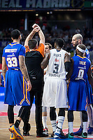 Referee Un-sportsmanlike Foul to Real Madrid's Sergio Rodríguez. In the image Real Madrid's KC Rivers and Khimki Moscow's Tyler Honeycutt, James Augustine and Tyrese Rice during Euroleague match at Barclaycard Center in Madrid. April 07, 2016. (ALTERPHOTOS/Borja B.Hojas) /NortePhoto