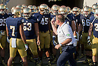 Sept. 28, 2013; Brian Kelly motions for the team to take the field for the second half.<br /> <br /> Photo by Matt Cashore