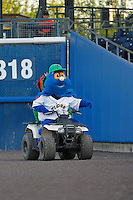 Norfolk Tides mascot Rip Tide (00) during a game against the Louisville Bats at Harbor Park on April 26, 2016 in Norfolk, Virginia. Louisville defeated defeated Norfolk 7-2. (Robert Gurganus/Four Seam Images)