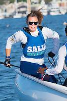 Skipper Allison Deluca,'21, tacks as the Salve Regina Sailing Team practices in the Newport Harbor.