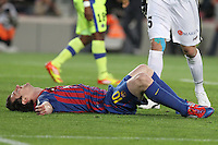 10.04.2012 Bacelona, Spain. La Liga. Picture show Leo Messi  in action during match between FC Barcelona against Getafe at Camp Nou