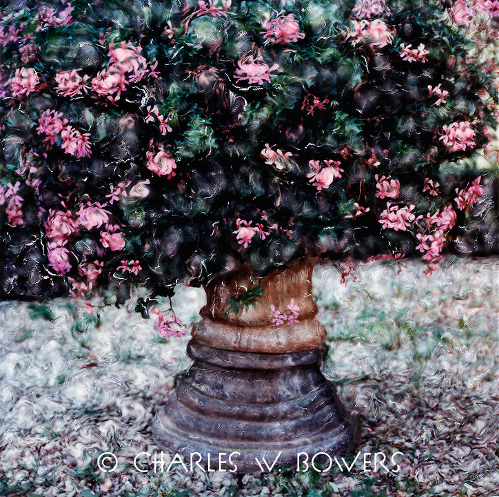 Pink geraniums overflow their pot in Italian garden. Visually exciting painting.<br />