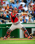 3 July 2009: Atlanta Braves catcher Brian McCann in action against the Washington Nationals at Nationals Park in Washington, DC. The Braves defeated the Nationals 9-8 to take the first game of the 3-game weekend series. Mandatory Credit: Ed Wolfstein Photo