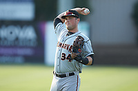 Delmarva Shorebirds first baseman Seamus Curran (34) warms up in the outfield prior to the game against the Kannapolis Intimidators at Kannapolis Intimidators Stadium on June 4, 2019 in Kannapolis, North Carolina. The Intimidators defeated the Shorebirds 9-0. (Brian Westerholt/Four Seam Images)
