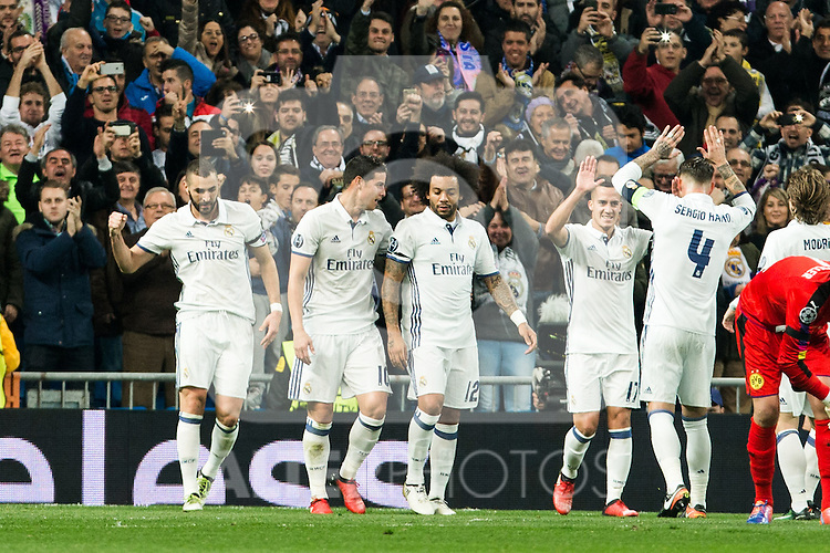 Real Madrid's Marcelo Vieira, Karim Benzema, James Rodriguez, Sergio Ramos, Lucas Vazquez  during Champions League match between Real Madrid and Borussia Dortmund  at Santiago Bernabeu Stadium in Madrid , Spain. December 07, 2016. (ALTERPHOTOS/Rodrigo Jimenez)