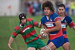 Graeme Brent hangs onto Tau Mata'afa.  Counties Manukau Premier rugby game between Waiuku & Ardmore Marist played at Waiuku on Saturday May 10th 2008..Ardmore Marist won 27 - 6 after leading 10 - 6 at halftime.