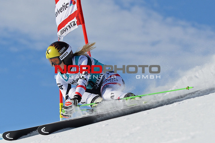 ST MORITZ, SWITZERLAND - DECEMBER 15:  Anna Fenninger of Austria during the Audi FIS Alpine Ski World Cup giant slalom race on December 15 2013 in St Moritz, Switzerland. <br /> Foto nph / Gunn