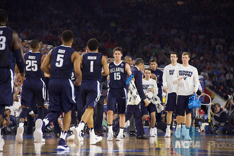04 APR 2016: Villanova takes on the University of North Carolina during the NCAA Division I Men's Final Four held at NRG Stadium in Houston, TX. Villanova defeated North Carolina 77-74 for the national title. Jamie Schwaberow/NCAA Photos