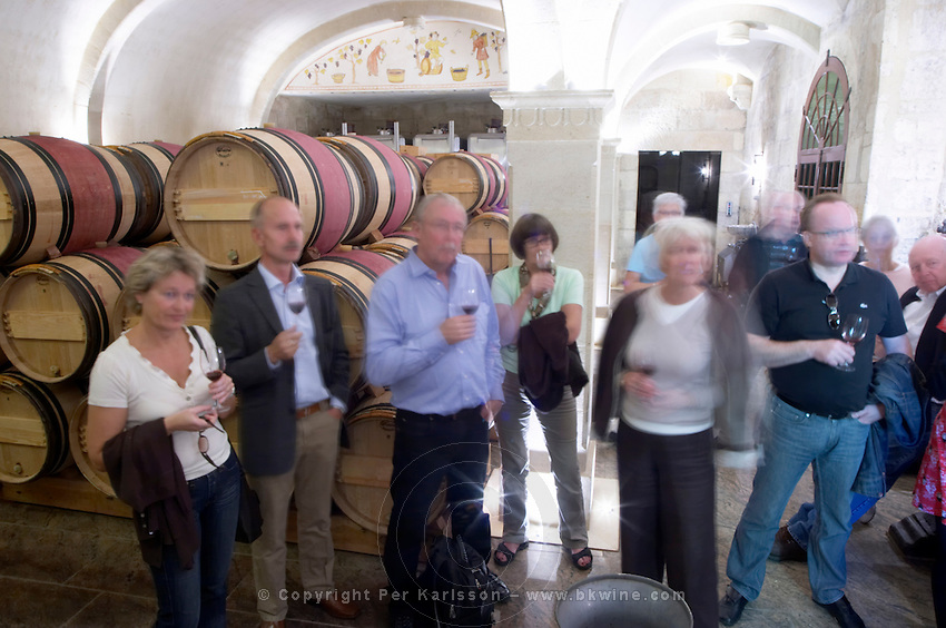 visitors in a wine cellar couvent des jacobins saint emilion bordeaux france