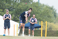 Steven Finn of Middlesex warms up before Middlesex CCC vs Hampshire CCC, Bob Willis Trophy Cricket at Radlett Cricket Club on 11th August 2020