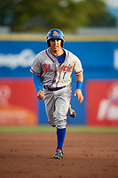 St. Lucie Mets left fielder Nick Sergakis (1) running the bases during a game against the Dunedin Blue Jays on April 20, 2017 at Florida Auto Exchange Stadium in Dunedin, Florida.  Dunedin defeated St. Lucie 6-4.  (Mike Janes/Four Seam Images)