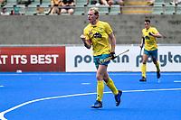 2nd February 2020; Sydney Olympic Park, Sydney, New South Wales, Australia; International FIH Field Hockey, Australia versus Great Britain; Aran Zalewski of Australia celebrates after Australia score a goal to make it 3-1