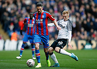 5th January 2020; Selhurst Park, London, England; English FA Cup Football, Crystal Palace versus Derby County; Louie Sibley of Derby County challenges Martin Kelly of Crystal Palace - Strictly Editorial Use Only. No use with unauthorized audio, video, data, fixture lists, club/league logos or 'live' services. Online in-match use limited to 120 images, no video emulation. No use in betting, games or single club/league/player publications