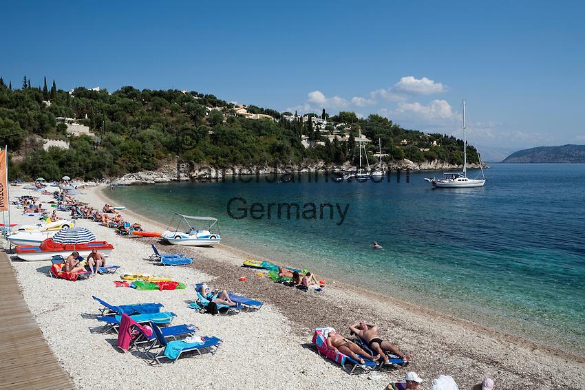 Greece, Corfu, Kalami: Beach resort on North East coast of island