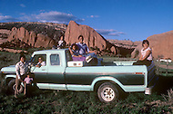 May 6th to 13th, 1985 in Navajo Reserve, AZ. This Navajo Family posed in their pick up truck. They are Ralph and Pricillia Begay, Jason 15, Shane 10, Cami 8, Jeremy 6, Tenille 3. Window Rock, AZ.