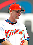 21 August 2009: Washington Nationals' first round draft pitcher Stephen Strasburg smiles after being formally introduced to the media during a televised event at Nationals Park in Washington, DC. The Nationals agreed to terms with Strasburg, the 2009 number one overall pick in this years' MLB Draft, with fewer than two minutes before the signing deadline. Mandatory Credit: Ed Wolfstein Photo