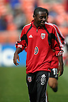03 April 2003: Fourteen year old Freddy Adu warms up before the game. DC United defeated the San Jose Earthquakes 2-1 at RFK Memorial Stadium in Washington, DC.