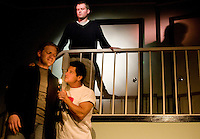 Shane Beeson (cq, top) stars as David, Joshua Scott (cq, left) as Daniel, and Joseph Corri (cq, front white) as Arty, in Perimeters, a comedy by The Labyrinth Theater showing at First United Methodist Church of Richardson at 6:40PM in Dallas, Texas, Friday, April 25, 2008. The performance runs through May 17th...MATT NAGER/SPECIAL CONTRIBUTER