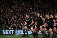 Kieran Read leads the haka before the Rugby Championship and Bledisloe Cup rugby match between the New Zealand All Blacks and Australia Wallabies at Forsyth Barr Stadium in Dunedin, New Zealand on Saturday, 26 August 2017. Photo: Dave Lintott / lintottphoto.co.nz