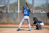 Los Angeles Dodgers infielder Marcus Chiu (22) at bat in front of catcher Caleb Marquez (35) during an Instructional League game against the Milwaukee Brewers at Maryvale Baseball Park on September 24, 2018 in Phoenix, Arizona. (Zachary Lucy/Four Seam Images)
