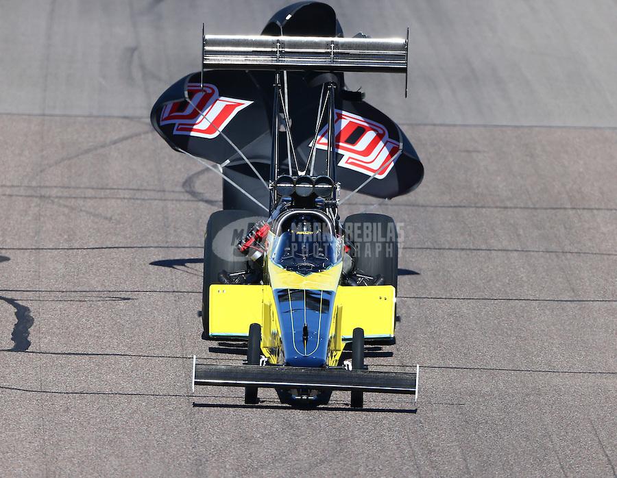 Feb 28, 2016; Chandler, AZ, USA; NHRA top fuel driver Steve Chrisman during the Carquest Nationals at Wild Horse Pass Motorsports Park. Mandatory Credit: Mark J. Rebilas-
