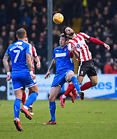 Lincoln City's Sam Habergham is fouled by Notts County's Jonathan Stead<br /> <br /> Photographer Andrew Vaughan/CameraSport<br /> <br /> The EFL Sky Bet League Two - Lincoln City v Notts County - Saturday 13th January 2018 - Sincil Bank - Lincoln<br /> <br /> World Copyright &copy; 2018 CameraSport. All rights reserved. 43 Linden Ave. Countesthorpe. Leicester. England. LE8 5PG - Tel: +44 (0) 116 277 4147 - admin@camerasport.com - www.camerasport.com