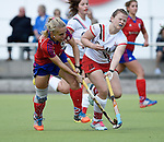 Mannheim, Germany, April 18: During the 1. Bundesliga Damen match between TSV Mannheim (white) and Mannheimer HC (red) on April 18, 2015 at TSV Mannheim in Mannheim, Germany. Final score 1-7 (1-4). (Photo by Dirk Markgraf / www.265-images.com) *** Local caption *** Lydia Haase #12 of Mannheimer HC, Viktoria Przybilla #15 of TSV Mannheim