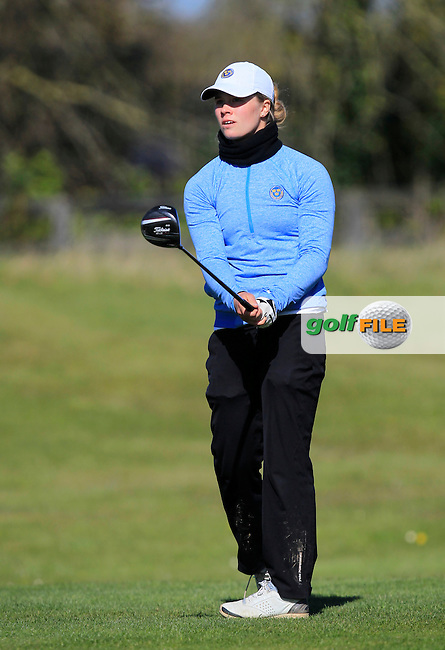 Pi-Lillebi Hermansson (SWE) on the 1st tee during Round 3 of the Irish Girl's Open Stroke Play Championship at Roganstown Golf &amp; Country Club on Sunday 17th April 2016.<br /> Picture:  Thos Caffrey / www.golffile.ie