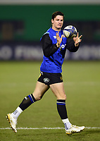 Freddie Burns of Bath Rugby receives the ball during the pre-match warm-up. European Rugby Champions Cup match, between Benetton Rugby and Bath Rugby on January 20, 2018 at the Municipal Stadium of Monigo in Treviso, Italy. Photo by: Patrick Khachfe / Onside Images
