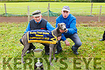Tom O'Connor from Ballyheigue and Richard Mee with their dog, Cruyff who won the Derby Trial Stake in Castleisland on Monday.