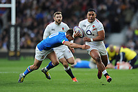 Manu Tuilagi of England in full flight during the Guinness Six Nations match between England and Italy at Twickenham Stadium on Saturday 9th March 2019 (Photo by Rob Munro/Stewart Communications)