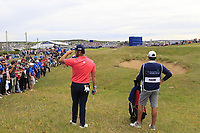 Jon Rahm (ESP) waits to play his 2nd shot on the 18th hole during Sunday's Final Round of the Dubai Duty Free Irish Open 2019, held at Lahinch Golf Club, Lahinch, Ireland. 7th July 2019.<br /> Picture: Eoin Clarke | Golffile<br /> <br /> <br /> All photos usage must carry mandatory copyright credit (© Golffile | Eoin Clarke)