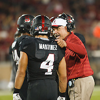 Stanford-October 10, 2014: Duane Akina, coach, during the Stanford vs. Washington State game Friday night at Stanford Stadium.<br /> <br /> The Cardinal defeated the Cougars 34-17.
