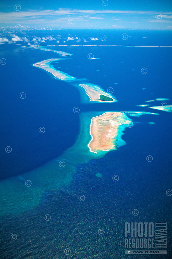 Aerial view of Bikini atoll islands, part of the Marshall islands in the south pacific