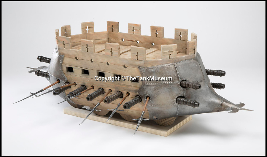 BNPS.co.uk (01202 558833)Pic: TheTankMuseum/BNPS<br /> <br /> Castle cart - designed by German knight Ludwig von Eyb in around 1500.<br /> <br /> Tanks from the Memories...<br /> <br /> A museum has recreated some of the evolutionary dead ends dreamt up before the modern Tank was finally invented during WW1.<br /> <br /> Accurate models of the weird and wonderful creations that date as far back as 3,000 years ago will form part of a new exhibition at The Tank Museum in Bovington, Dorset.<br /> <br /> Tanks as we know them rolled onto the battlefield in 1916 during World War One.<br /> <br /> But among the models recreated is one designed by ancient Assyrians from 9th century BC, which was an early siege vehicle – a battering ram with armour and a protruding weapon.