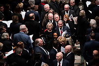 Former VP Dan Quayle, with Former CIA Director Robert Gates with Former CIA Director William Webster, Former National Security advisor Condoleezza Rice walk out behind  there casket of former president George Herbert Walker Bush down the center isle following a memorial ceremony at the National Cathedral in Washington, Wednesday,  Dec.. 5, 2018. <br /> CAP/MPI/RS<br /> &copy;RS/MPI/Capital Pictures